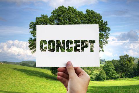 imagem de uma mão segurando um papel escrito concept em inglês de fundo uma árvore, ISO 14001, Princípio da Prevenção