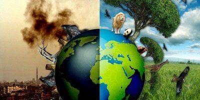 imagem do planeta terra mostrando metade do globo poluído e a outra metade bem cuidada - Controles Operacionais no levantamento de aspectos e impactos