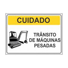 placa de aviso de trânsito de máquinas pesadas